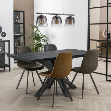 Table pied central bois de manguier noir 165 cm LUCKNOW