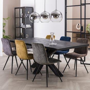 Table pied central bois de manguier noir 200 cm LUCKNOW