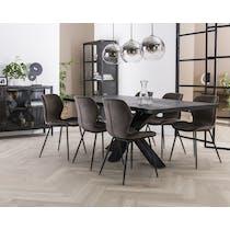 Table pied central bois de manguier noir 230 cm LUCKNOW