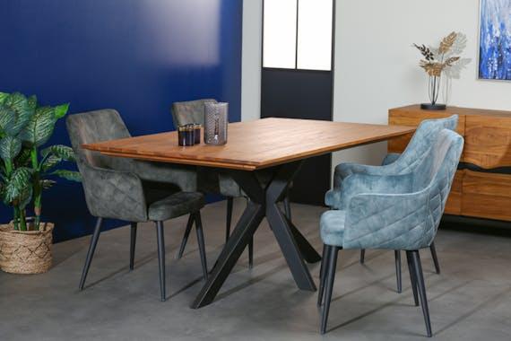 Table pied central bois recyclé teck 180 cm BARBADE