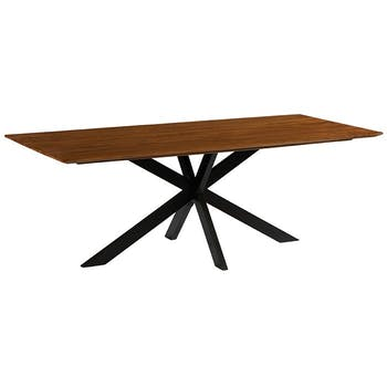 Table pied central bois recyclé teck 220 cm BARBADE