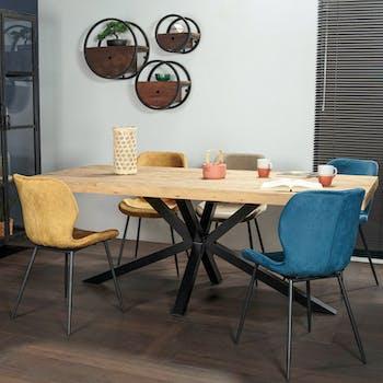 Table pied central en bois recyclé 200 cm CANBERRA