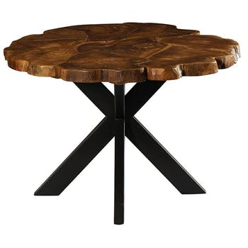 Table pied central ronde teck massif recyclé 120 cm BALTIMORE