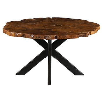 Table pied central ronde teck massif recyclé 150 cm BALTIMORE