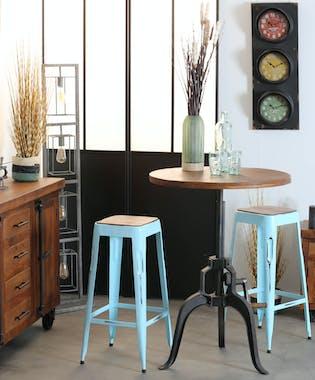 Table de repas ronde bois recycle pied metal fonte style industriel