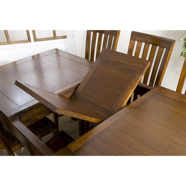 Table a manger rectangle extensible en bois de style exotique