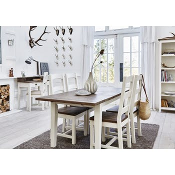 Table a manger rectangulaire extensible bois recycle FSC blanc