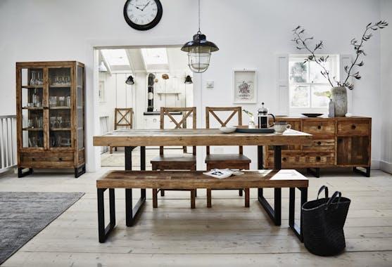 Table de repas extensible bois recycle FSC metal style industriel