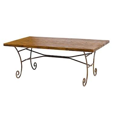Table en bois accacia fer vielli de style campagne