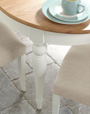 Table ronde blanche extensible 120-165 cm PORTSMOUTH