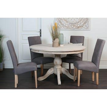 Table ronde bois naturel de mindi