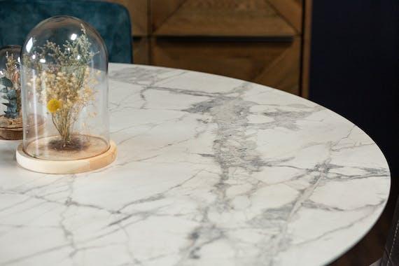 Table ronde en céramique blanche 140 cm FLORENCE