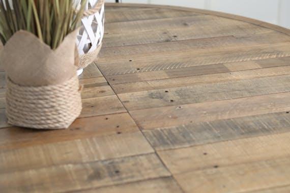 Table ronde extensible en bois recyclé D 120-160 cm BRISBANE