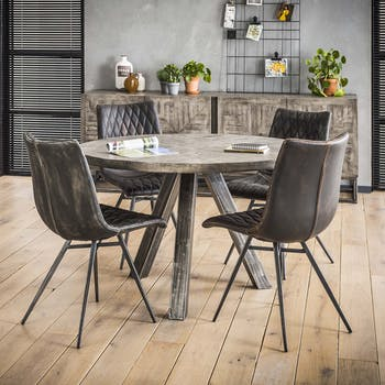 Table ronde industrielle grise 120 cm LUCKNOW