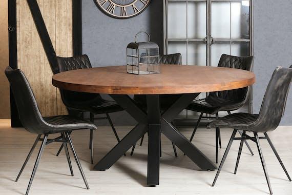 Table ronde pied central bois de chêne massif D160 cm OKA