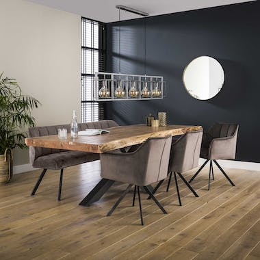 Table de repas plateau bois massif naturel pied central metal style contemporain