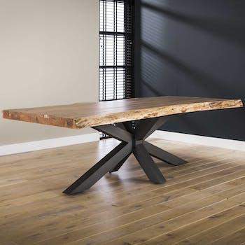 Table salle à manger bois massif pied mikado 240 cm MELBOURNE
