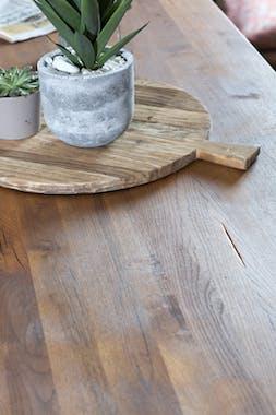 Table de repas bois massif pied central metal style contemporain