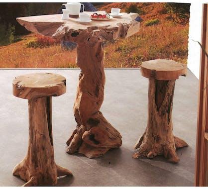 Table haute mange debout en bois massif de style exotique