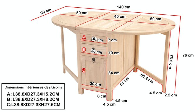 TABLE TRADITION ovale pliante 90cm