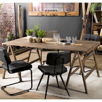 Table de repas en bois recylce sur treteaux style campagne