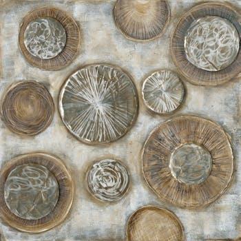 Tableau Abstrait 100x100 Doré. Ajout d'éléments métal en relief. Peinture acrylique