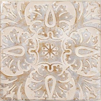 Tableau ABSTRAIT Arabesques tons ocres, gris et beiges 40x40cm
