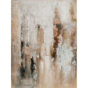 Tableau abstrait beige, brun, argent