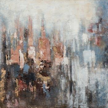 Tableau abstrait bleu, or, brun, rose