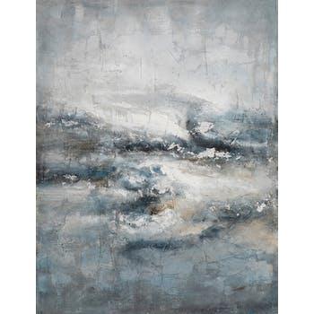 Tableau abstrait craquelé tempête