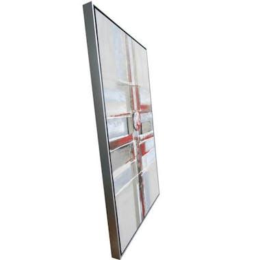 Tableau abstrait damier rouge stylisé cadre aluminium