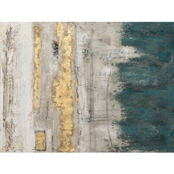 Tableau ABSTRAIT dominante beige, tons bleus, noirs, blancs et dorés 90x120cm