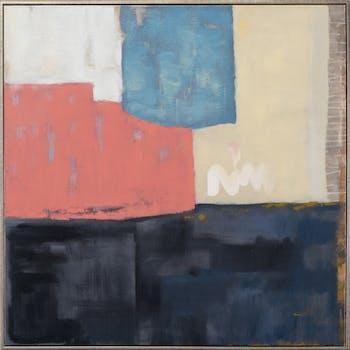 Tableau ABSTRAIT façon Patchwork tons noirs, rose orangés, dorés, argentés, bleus et beiges 80x80cm