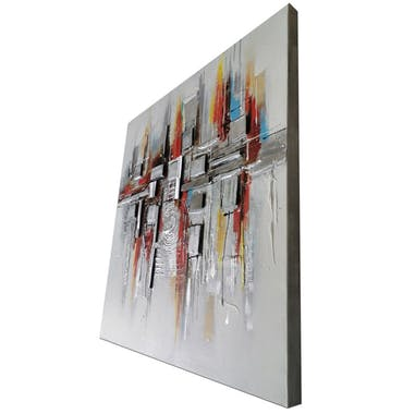 Tableau abstrait fond gris mix couleurs effet métal
