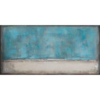 Tableau ABSTRAIT M2 tons bleus, beiges, blancs, marrons et argentés et feuilles métal 70x140cm