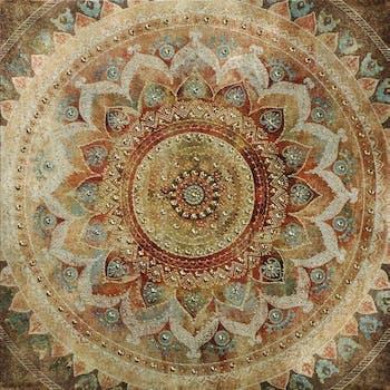 Tableau ABSTRAIT Rosace Arabesques multicolore 40x40cm
