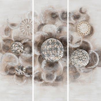 Tableau ABSTRAIT Tryptique cercles tons beiges, blancs et argentés 120x120cm