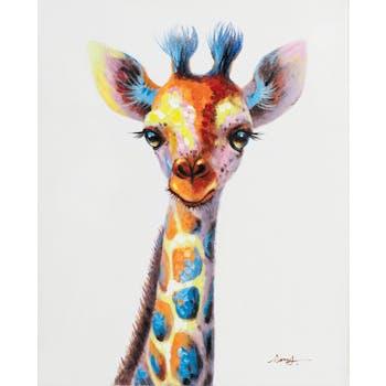 Tableau ANIMAL POP-ART Bébé Girafe couleurs vives multicolores 40x50cm
