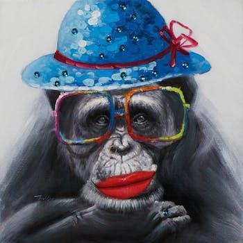 Tableau ANIMAL POP-ART chimpanzé à lunettes 70x70cm