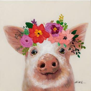 Tableau ANIMAL POP-ART Cochon avec couronne de fleurs 50x50cm