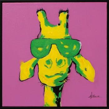 Tableau ANIMAL POP-ART Girafe à lunette tons rose, jaunes et verts 42x42cm
