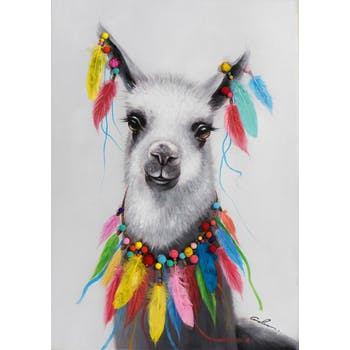 Tableau ANIMAL POP-ART lama et plumes multicolores 70x100cm