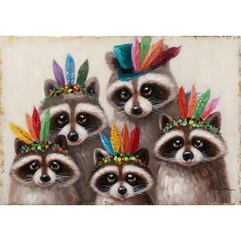 Tableau ANIMAL POP-ART Ratons Laveurs avec couvre-chef multicolore 70x100cm