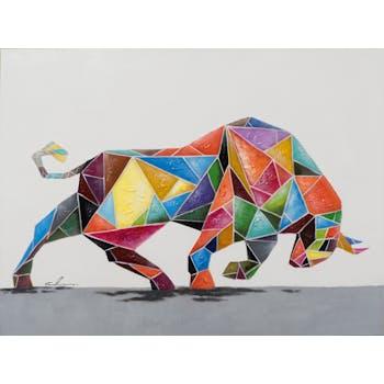 Tableau ANIMAL POP-ART taureau qui charge multicolore 90x120cm