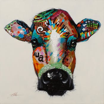 Tableau ANIMAL POP-ART Vache multicolore 70x70cm