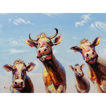 Tableau ANIMAL POP-ART Vaches multicolores 90x120cm