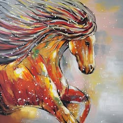 Tableau animaux cheval au galop