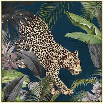 Tableau animaux panthère cadre doré 100x100