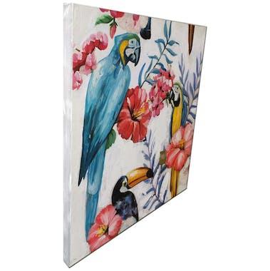 Tableau animaux perroquets, toucans et fleurs