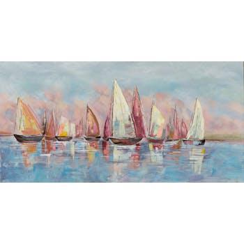 Tableau bateaux bleus et rouges